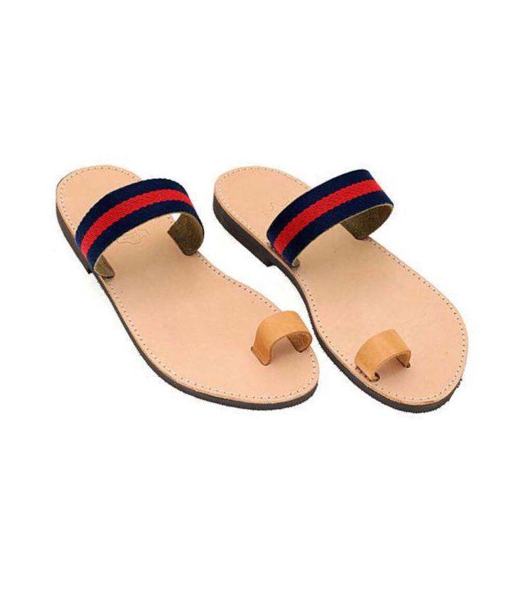 Ancient Greek handmade sandals, men sandals, sandals, men, blue and red sandals, leather, leather sandals, Grecia, blue, fashion, fashion sandals, Greek sandals , Greek, red
