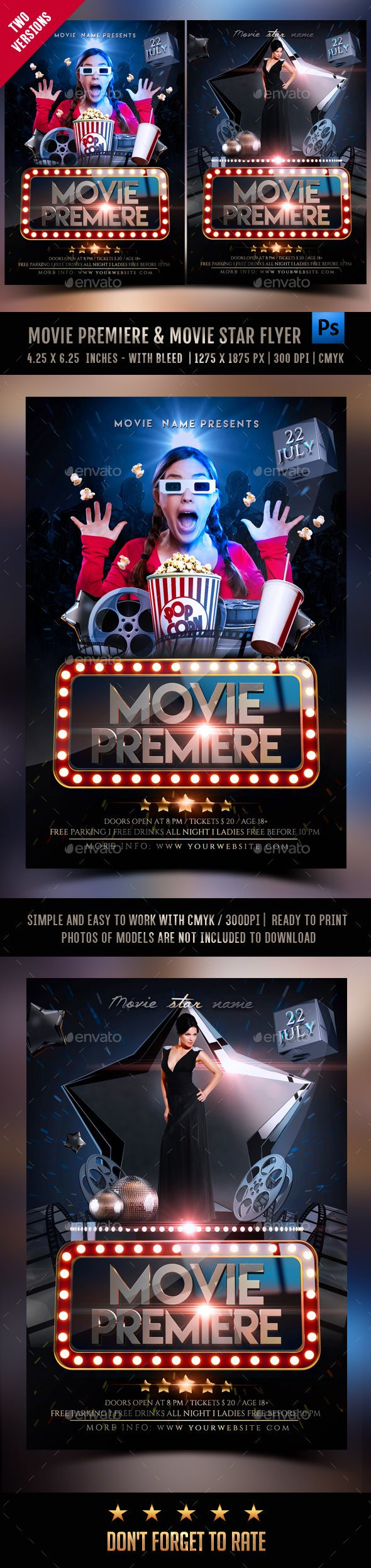 Movie Premiere & Movie Star Flyer  PSD Template • Download ➝ https://graphicriver.net/item/movie-premiere-movie-star-flyer/17165679?ref=pxcr