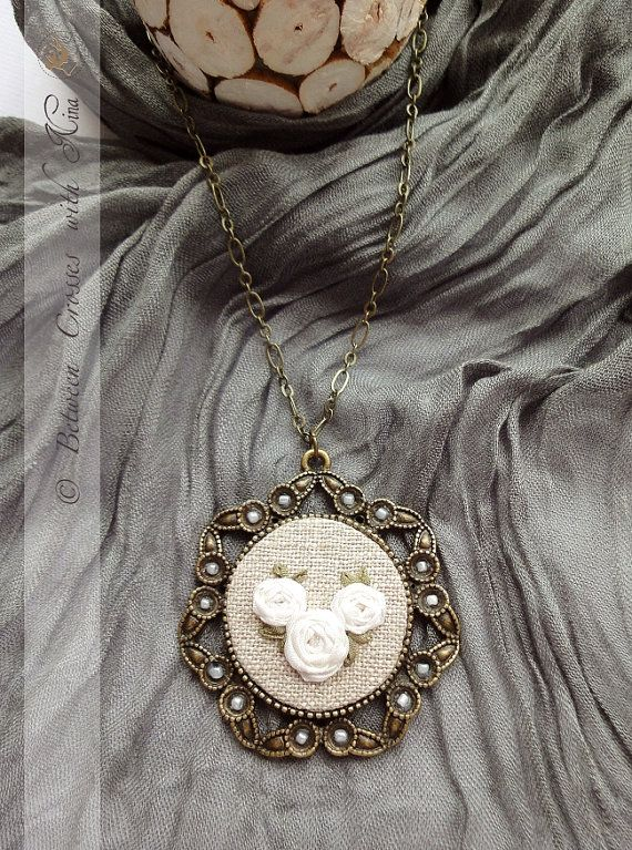 White silk roses Hand embroidered necklace with by NinaNinocska