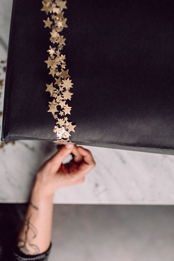 DIY Star Confetti Tape  https://ruffledblog.com/diy-star-confetti-tape-packaging #diy #diypackaging #holidays
