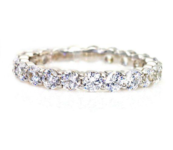 2ct Diamond Eternity Band Wedding Ring Anniversary Band Stacking Ring White Yellow Rose Gold on Etsy, $3,195.00