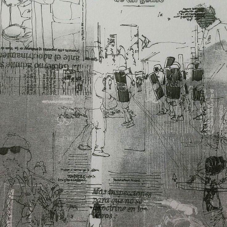Dibujo sobre dibujo sobre dibujo #linea #dibujo #dibujosobretela #titulares #periodicos #17y18demayo #desinformacionporsaturacion #gente #madeinspain #drawonfabric #instadrawings #drawings #charcoal #headlines #news #newspaper #saturation