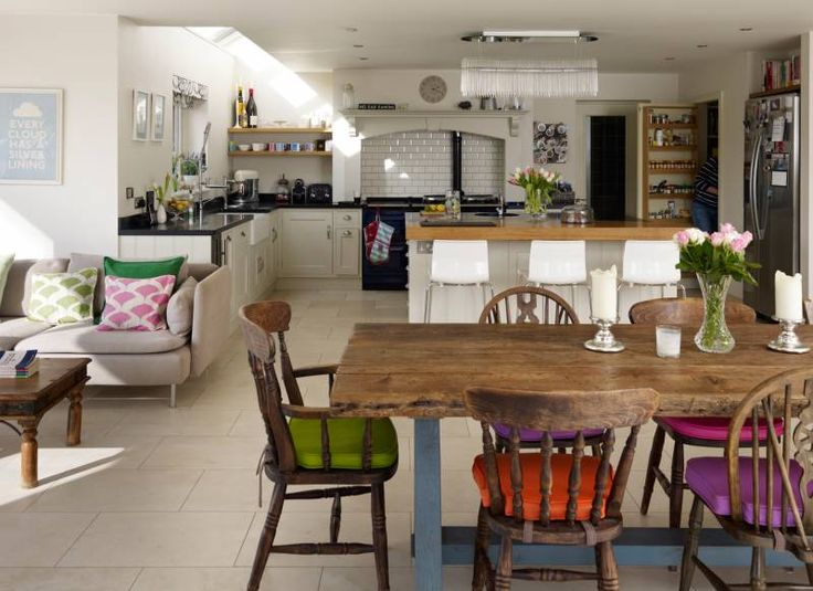 Large Multipurpose Open Plan Kitchen Love The Different Colour Cushions
