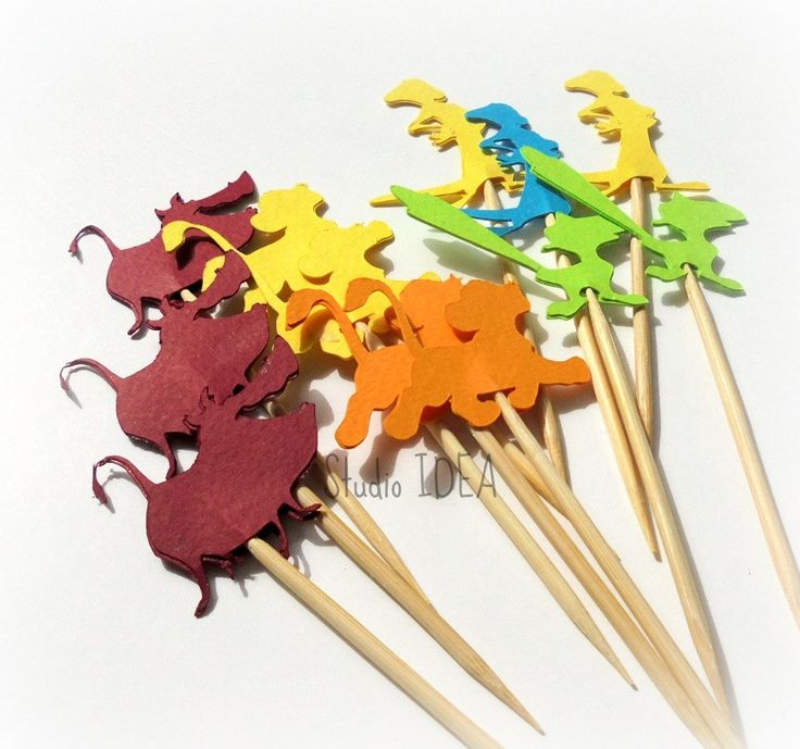 Simba & Friends Cupcake Toppers-Orange, Dark Red, Turquoise, Green-or Choose Your Colors- Sets of 12pcs, 24pcs by StudioIdea on Etsy