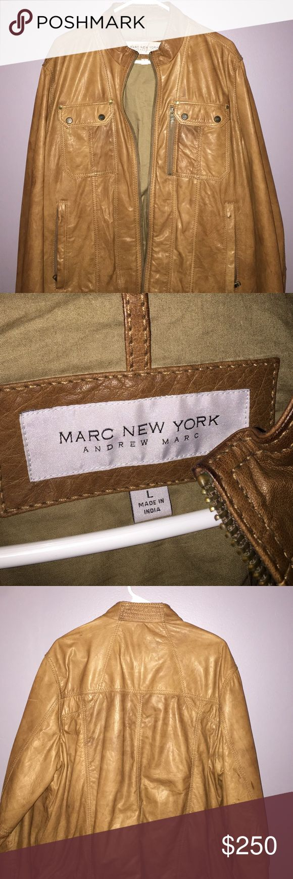 Andrew Marc tan leather jacket mens L Tan leather jacket by Andrew Marc, 100% real leather, never worn! Andrew Marc Jackets & Coats