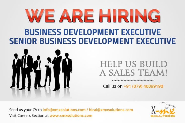 Opening for Business Development Executive at Xmx Solutions  Location: Ahmedabad Experience: 1 to 3 years  Key Responsibilities  * Sales- HR / ERP/ Web Development / Custom Development / SEO * Lead Generation * Principal relationship * Customer relationship * New Market Development  Share your CV at hiral@xmxsolutions.com / info@xmxsolutions.com