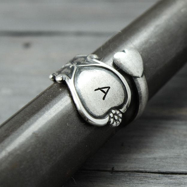 spoon ring initials spoons and sterling silver