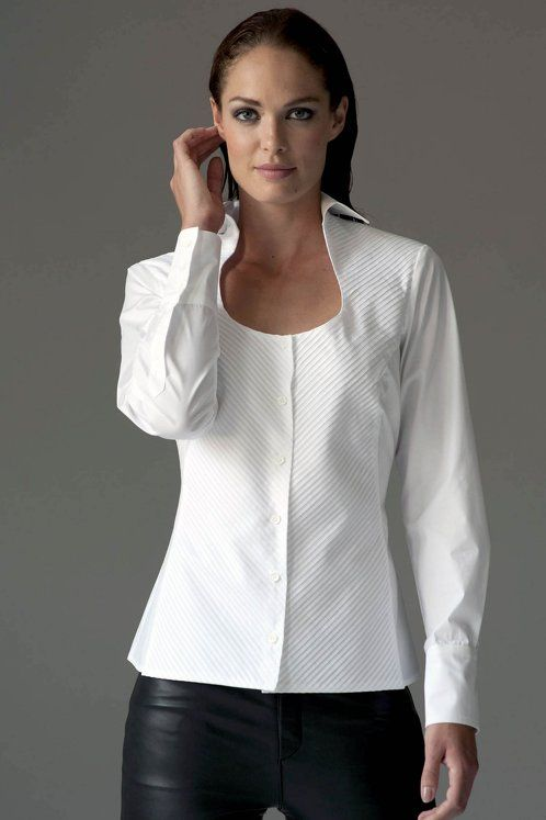Great neckline on this white shirt works well alone or would also be amazing under the right coat