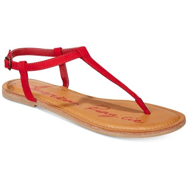 American Rag Krista T-Strap Flat Sandals, Created For Macy's ($20) ❤ liked on Polyvore featuring shoes, sandals, red, t strap flat shoes, red sandals, t-strap sandals, red t strap shoes and t bar flat shoes
