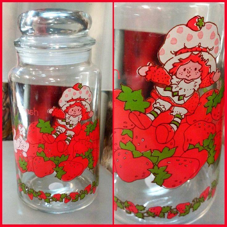 80s Strawberry Shortcake glass jar with lid.