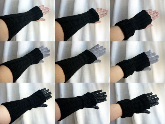 Knitting kit / gift kit – long fingerless gloves / mitts / arm warmers -  hand knitting pattern and yarn in an organza bag