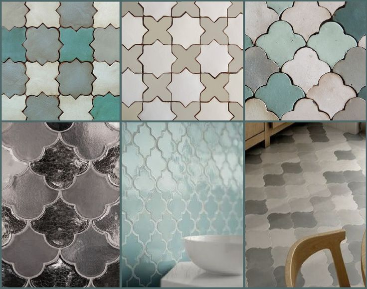 Maroccan & Mediterranean style Tiles in cool greys, green and blues