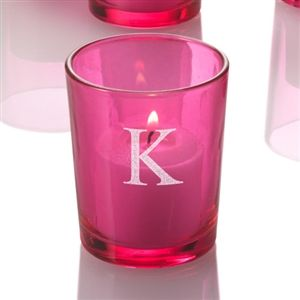Set of 12 Monogrammed pink votive candle holders, perfectly paired with votive candles or tealight candles $10.99