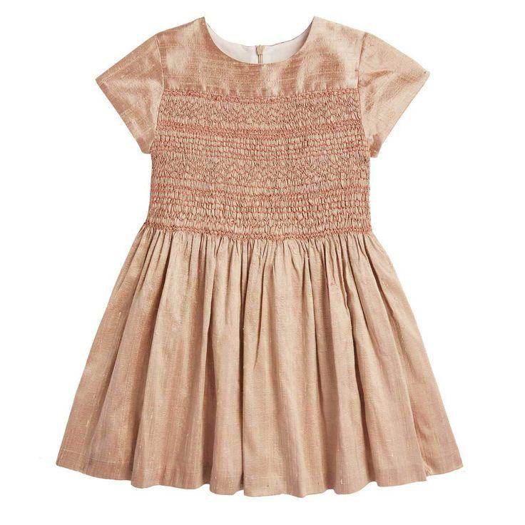 Luxury childrens SILK HAND SMOCKED PARTY DRESS