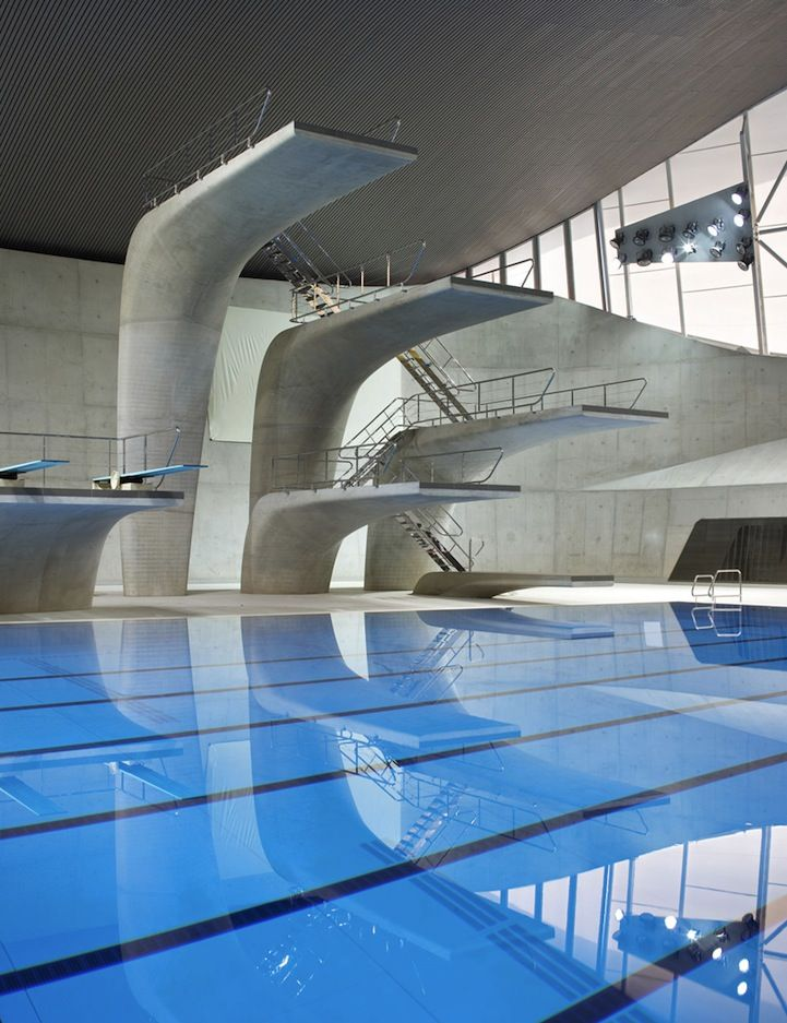 Curved concrete diving boards at the Hadid Aquatics Center, Olympic Park, London.