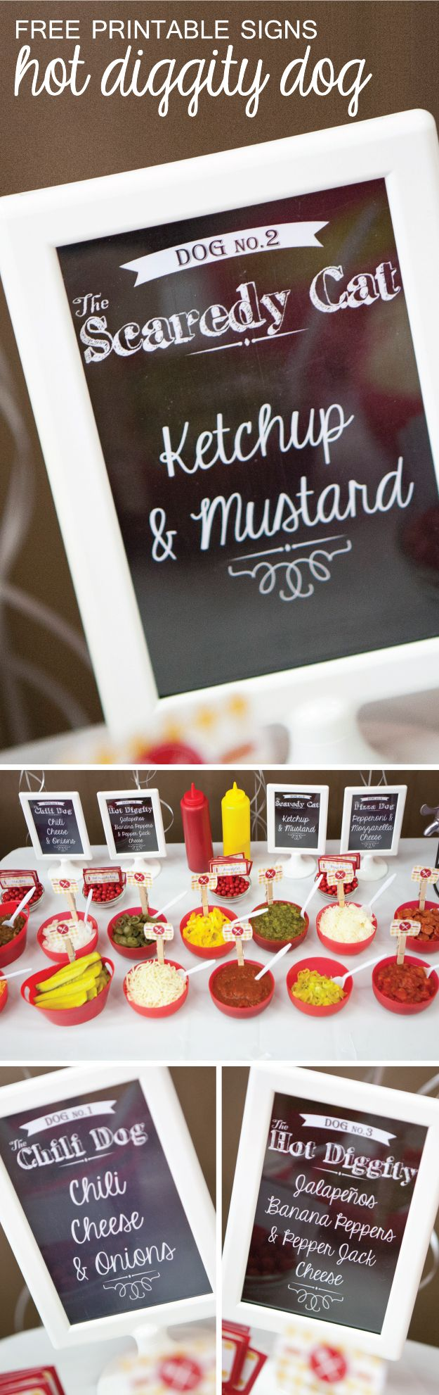 Hot Dog Party Supplies: Hot Diggity Dog Free Printable Signs #BigDot #HappyDot | Summer Party Ideas