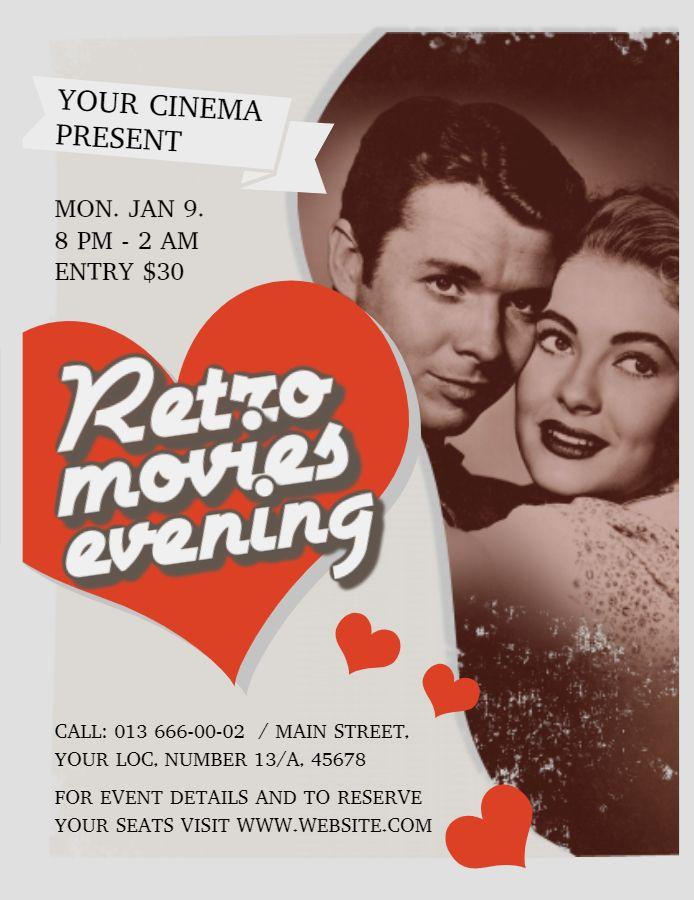 retro movie night event poster flyer idea vintage posters