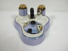 Lusterware Traditional Condiment Set Salt Pepper & Mustard Pot No Spoon
