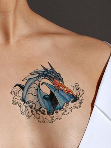 Blue fire dragon tattoo realistic for How to make temporary tattoos look real