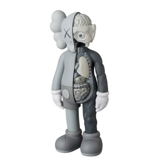"""KAWS COMPANION Brown Flayed Open Edition 8/"""" Figure Half Dissected new in box"""