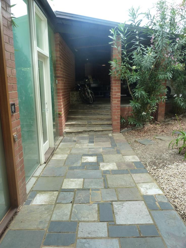 Existing conditions - great slate path between carport and courtyard entry.  Secret Design Studio, Melbourne.  www.secretdesignstudio.com
