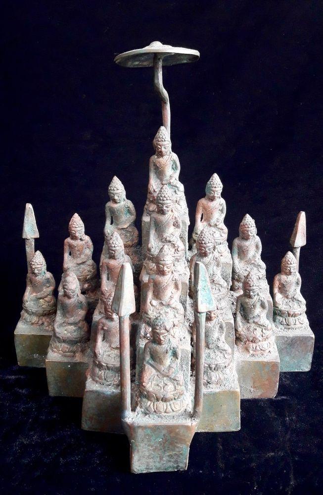 Buddha Altar Namaste Bronze Brass Sculpture Spirit Enlighten Meditation Statue