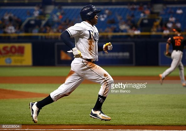 News Photo : Mallex Smith of the Tampa Bay Rays sprints home...