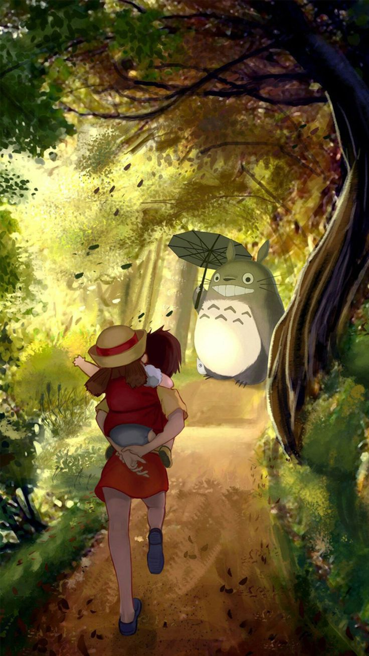 Wallpaper iphone totoro - Grove Totoro With Umbrella Waiting Kids Road Anime Cartoon Cute Film Iphone 6 Wallpaper