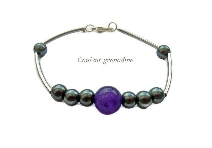 Bracelet améthyste pierre semi-précieuse : Bracelet par couleur-grenadine33