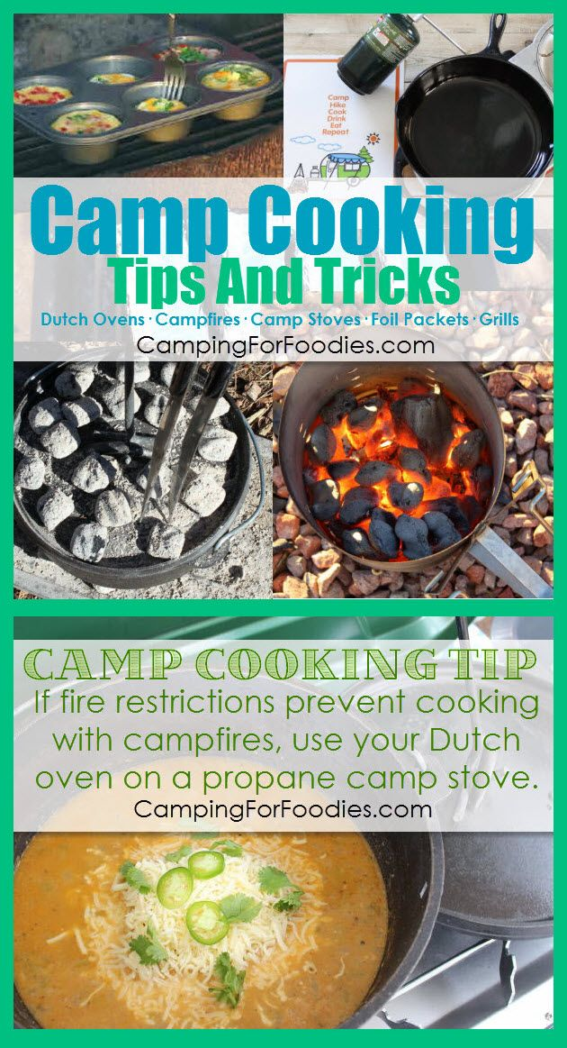 Dutch Oven Camp Cooking Tips And Tricks: If fire restrictions prevent cooking with campfires, use your Dutch oven on a propane camp stove.  See All Of Our Camp Cooking Tips And Tricks! Cooking on camping trips is part of the outdoor experience! Whether you are cooking over campfires, using Dutch ovens, camp stoves, foil packets or grills …  we have Camp Cooking Tips And Tricks plus recipes to make your camp cooking delicious, easy and fun!