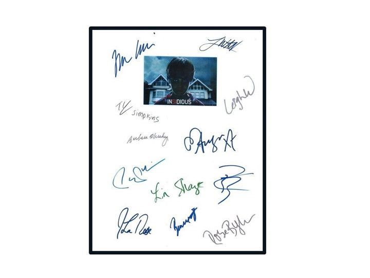Insidious Movie Script Autographed Signed: Patrick Wilson, Rose Byrne, Lin Shaye, Ty Simpkins, Barbara Hershey, Leigh Whannell, James Wan