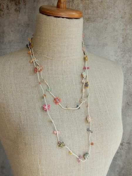 Hand made, with bullion stitched, all linen necklace approximately 52 inches long, can be work long or doubled.