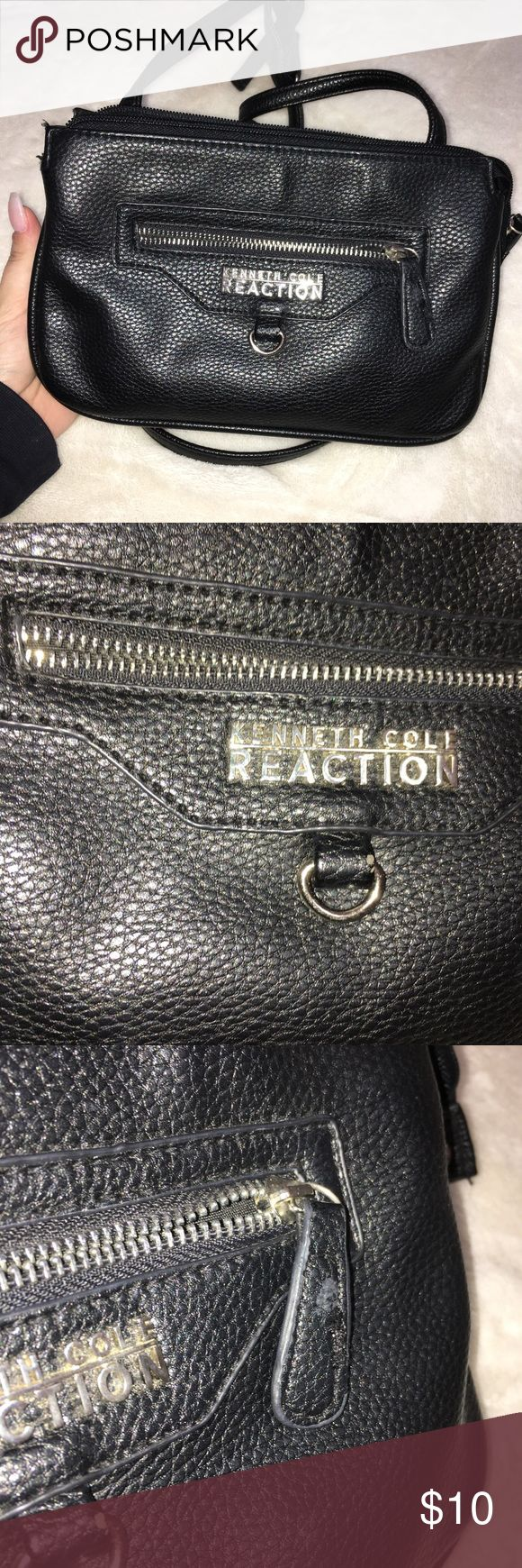 KENNETH COLE Black Cross-body Bag -front pocket with interior pockets and a interior division slot -leather look (not real leather)  -I tied shoulder strap but it can be undone and adjusted  🎉negotiable🎉 Bags Crossbody Bags