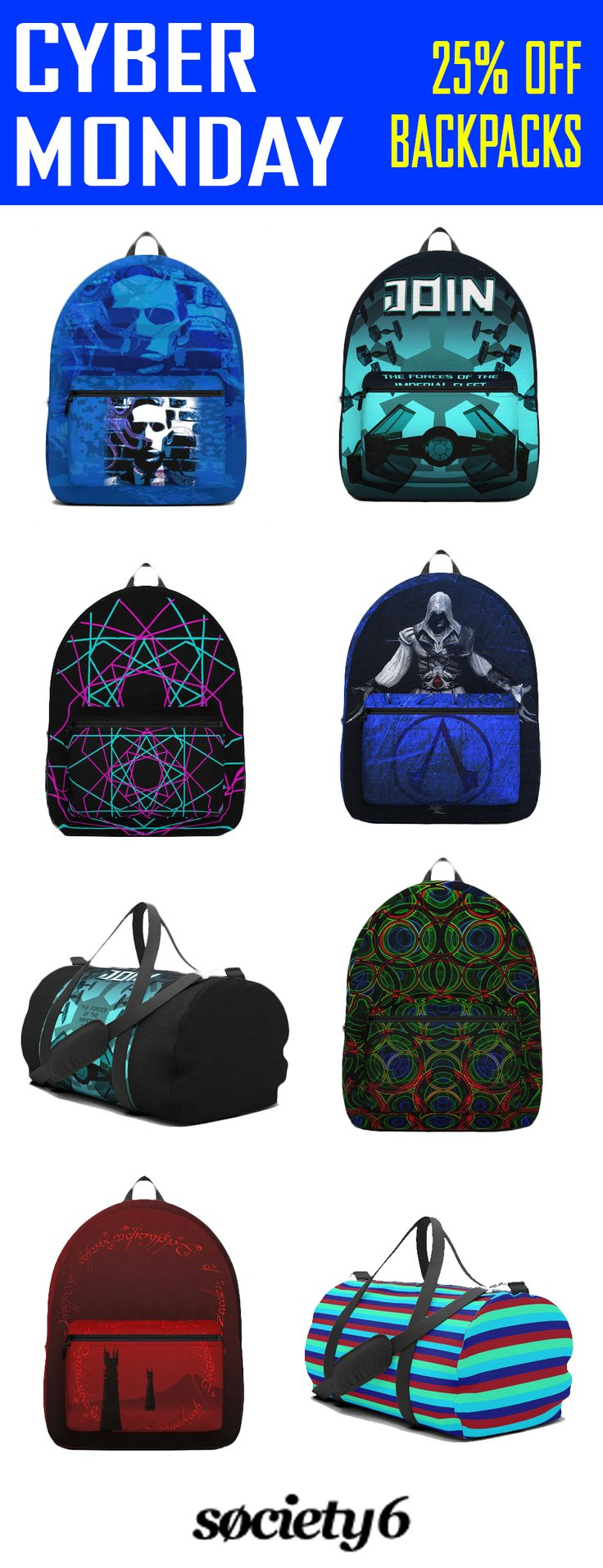 Cyber Monday2017.   25% OFF backpacks & duffle bags +  Free Shipping!  #cybermonday #sales #save #discount #backpack #dufflebag #cinema #dark #lovecraft #gaming #gamer #highschool #campus #travelbackpack #travelbag #travel #gamerbackpack #gym #society6 #gifts #giftsforhim #giftsforher #home #family #style #39 #shopping #onlineshopping #xmas #christmas #xmasgifts #freeshipping #movie #moviegifts