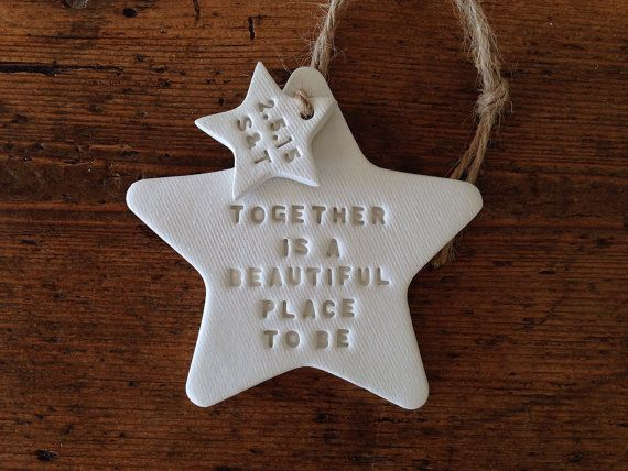 Together is a beautiful place to be: White clay star & personalised tag ~ custom gift for a wedding ~ wedding anniversary ~ wedding favor