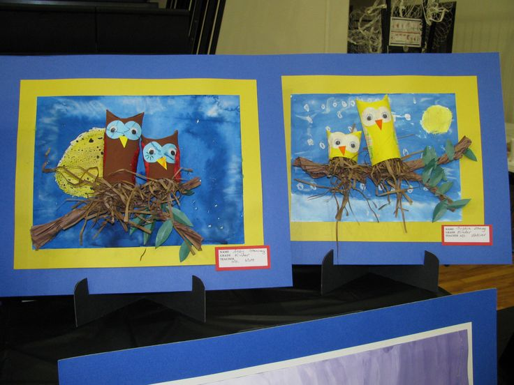 Kindergarten paper tube owls with painted background; lesson by art teacher: Susan Joe