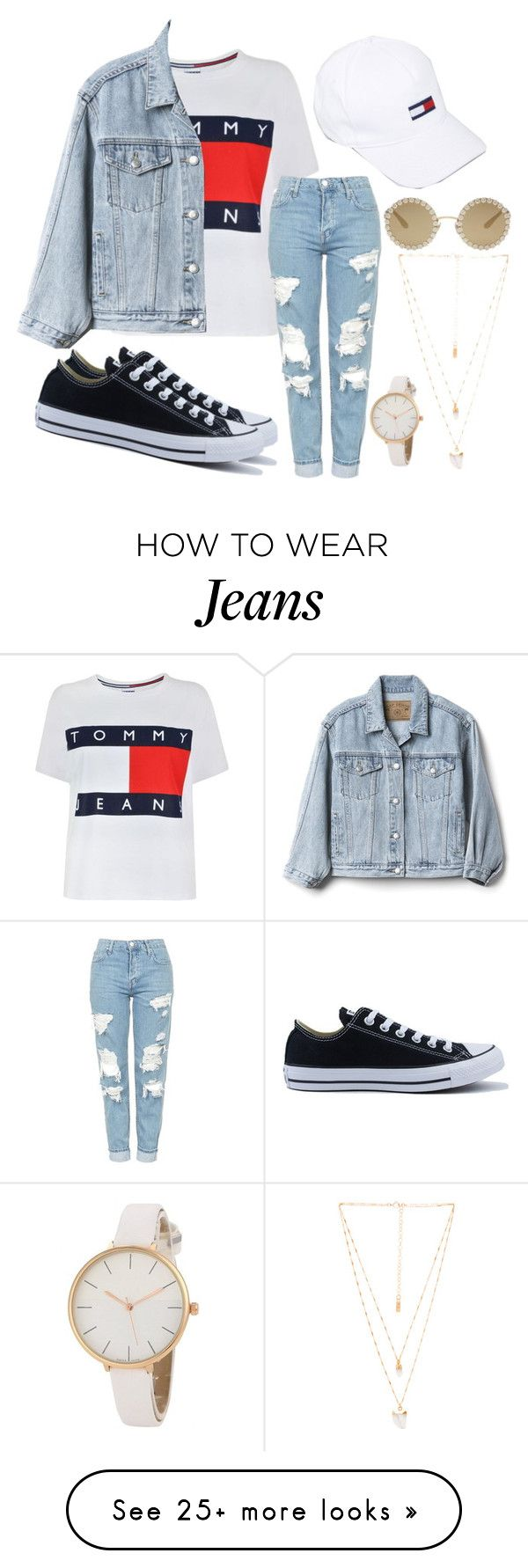 """Tommy Jeans"" by cyanbluebree on Polyvore featuring Tommy Hilfiger, Gap, Topshop, Converse, Hilfiger Denim, Dolce&Gabbana and Natalie B"