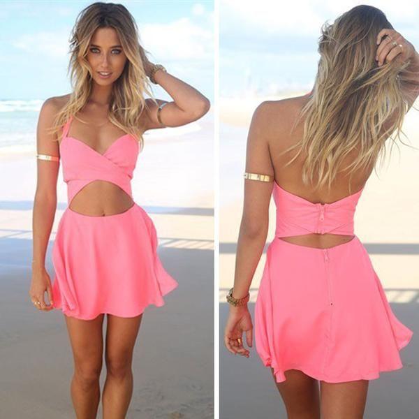 summer casual pink dress, sexy pink beach dress - Crystalline