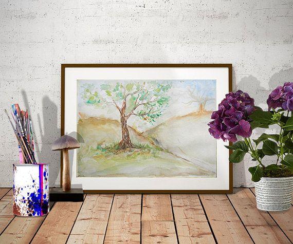 Original landscape watercolor Oak Tree on hill original