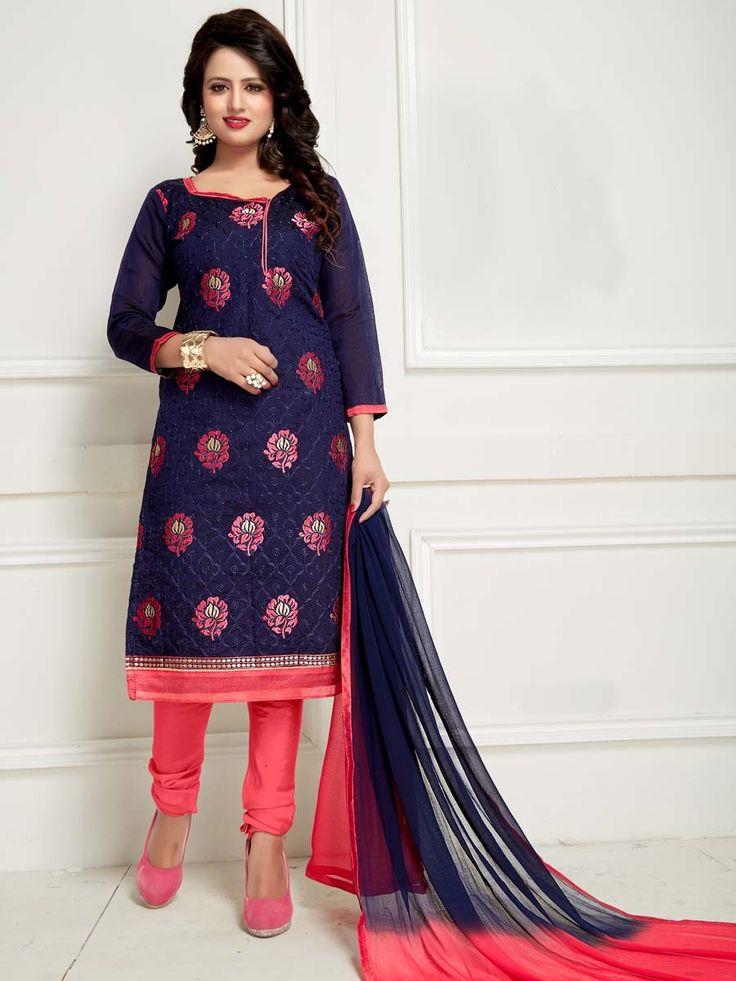 Beautiful chanderi kameez in navy blue color with resham, zari work.  Item Code: SLANB2008 Shop more: http://www.bharatplaza.com/women/salwar-kameez.html