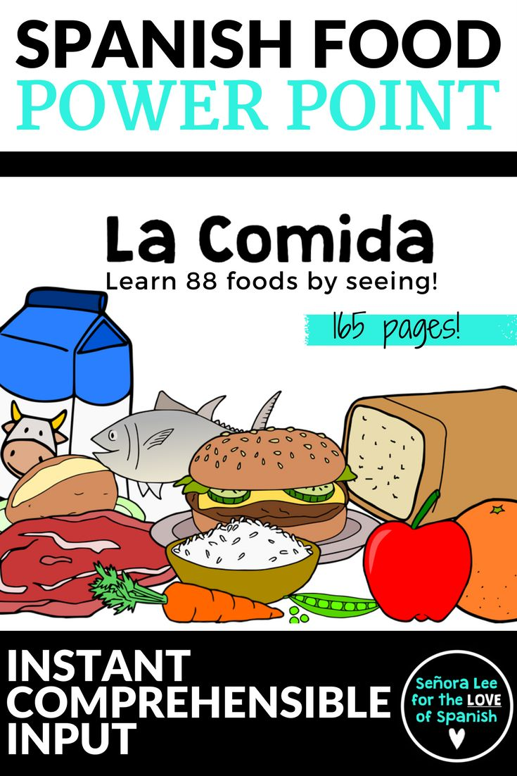 Spanish Food Vocabulary PowerPoint | Learn Spanish food vocabulary by seeing! Reinforce foods with 165 pages of 88 foods in Spanish. Spanish 1 resources.