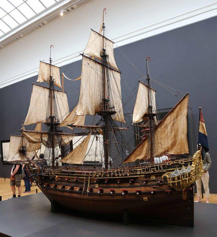 large model of the 72 gun Dutch warship William Rex (1698) at the Rijksmuseum, Amsterdam.