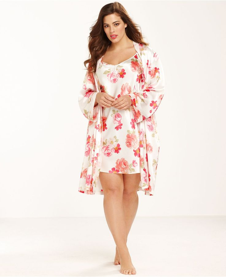 Morgan Taylor Plus Size Floral Ruffle Charmeuse Chemise and Wrap - Plus Size Pajamas & Robes - Plus Sizes - Macy's