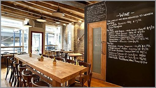 Aria Wine Bar (W. Village) love the exposed brick and beams. Espically love the chalkboard wall.