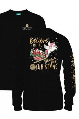 Simply Southern Magic Of Christmas Long Sleeve Tee- Black from Chocolate Shoe Boutique