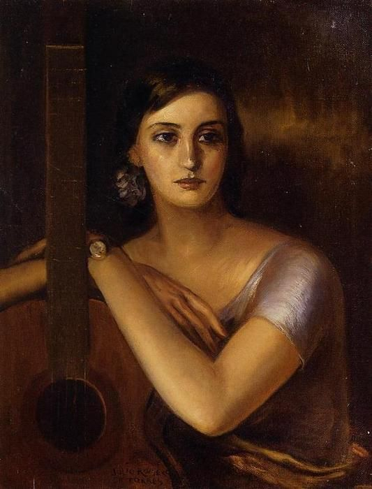 'Woman with a Guitar', Oil On Canvas by Julio Romero De Torres (1874-1930, Spain)