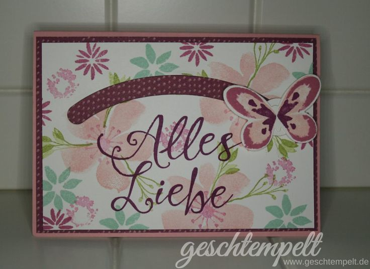 Stampin up, Kullerkarte, Slider card, Blooms & Wishes, Shooting Star, Watercolor Wings, für Himmelsstürmer, Durch die Blume