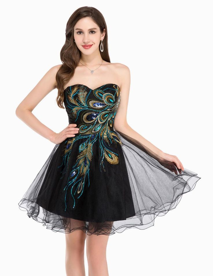 Short Evening Dresses Robe Tulle Ball Peacock Dress $51.60 => Save up to 60% and Free Shipping => Order Now! #fashion #woman #shop #diy www.weddress.net/...