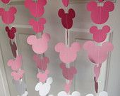 Pink Mouse Style Garland Strand, Birthday Party Decorations, Mickey Mouse Themed Party Decorations