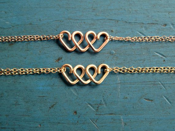 Infinite Love Heart Infinity Bracelet Rose Gold or Gold Friendship Bracelet Bridesmaid Jewelry Best Friends Gift Sisters Bracelet